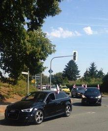 Autokorso in der Stadt Bad Langensalza zur Unterstützung des Tarifkonfliktes bei der Celenus Klinik an der Salza