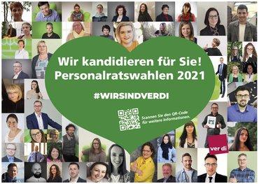 Das Plakat besteht aus 50 Einzelfotos der Kandidierenden. In der Mitte ist ein grünes Herz mit dem Slogan zur Wahl.